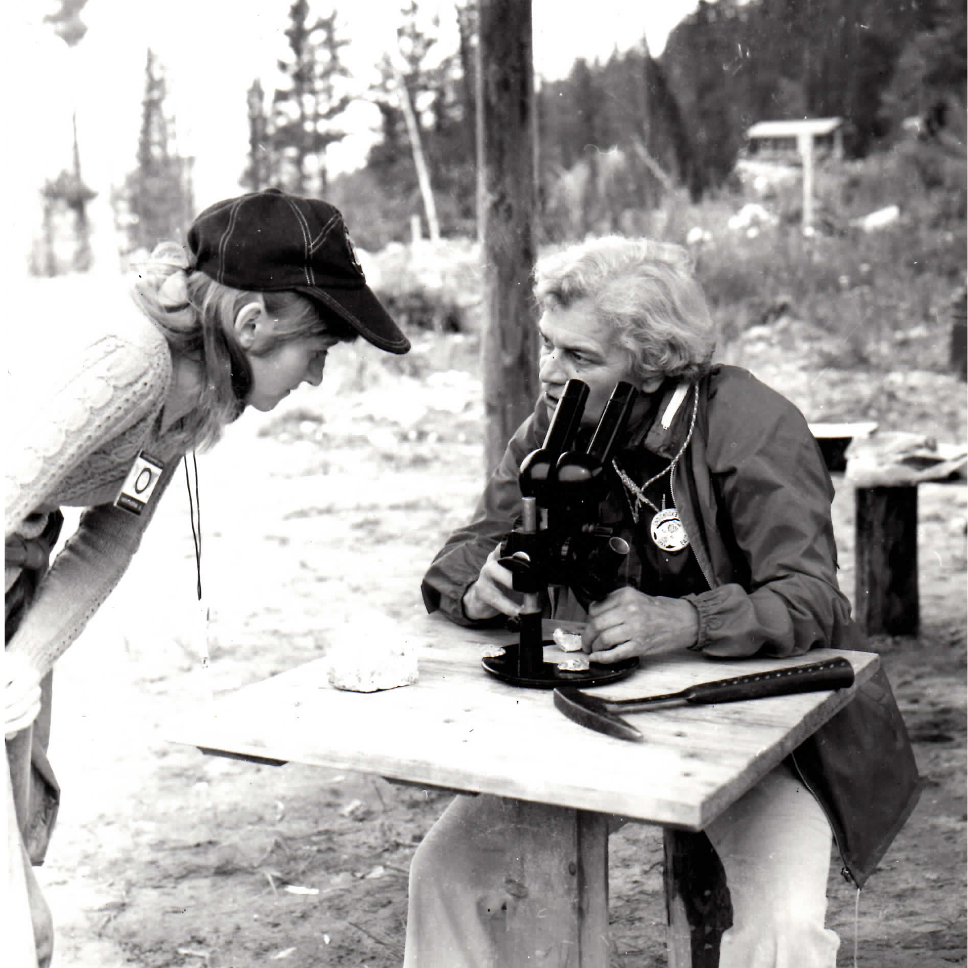 Dr. Schmidt in the field with her microscope in 1968 in Czechoslovakia